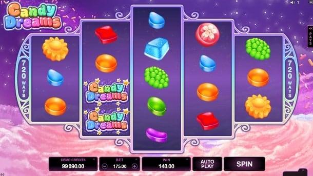 Выигрыш за комбинацию в Candy Dreams